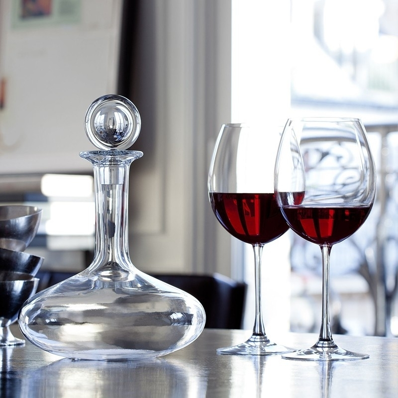 Crystal decanter for young wine and glasses OENOLOGIE